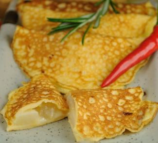 Рецепт Яичные блинчики с грушей