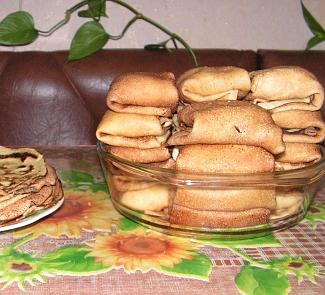 Рецепт Блины, фаршированные грушами