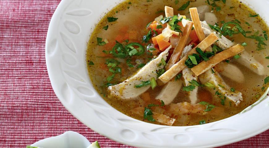 Рецепт Мексиканский суп с индейкой и тортильей