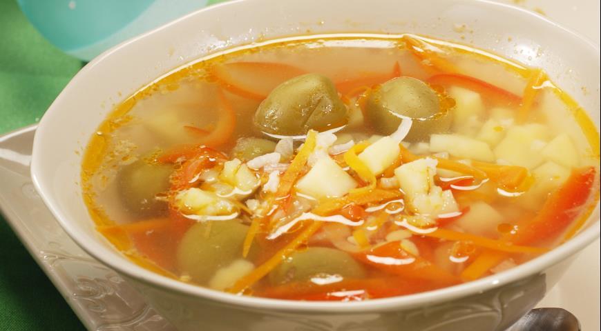 Рецепт Суп со свининой и оливками