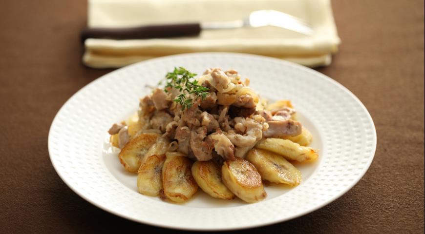 Рецепт Куриное филе с жареными бананами