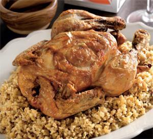 Запеченная курица и пилаф из булгура
