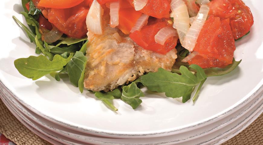 Рецепт Линь с запеченными помидорами и перцами
