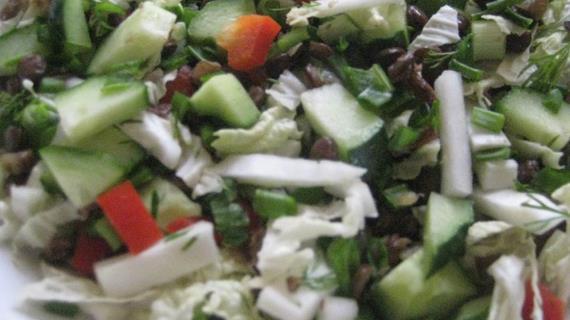 Салат с чечевицей, пошаговый рецепт с фото