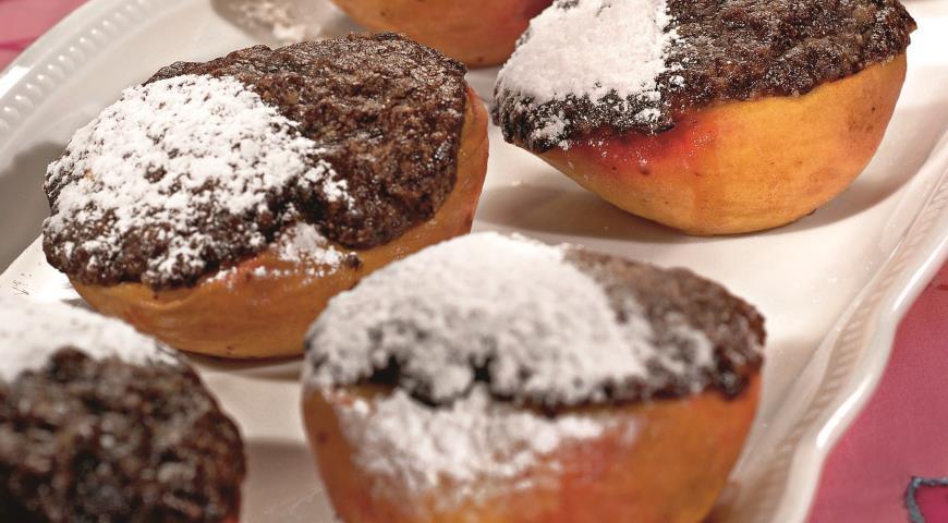 Рецепт Персики, запеченные с шоколадом и имбирем