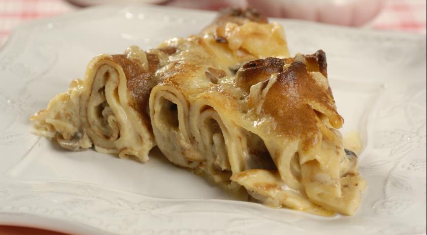 Рецепт Блинный пирог с грибами