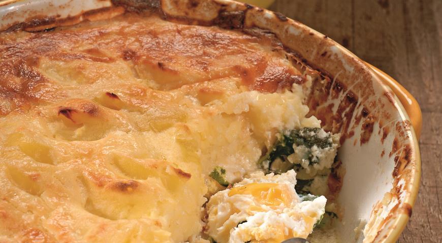 Рецепт Рыбная запеканка с картофелем и шпинатом