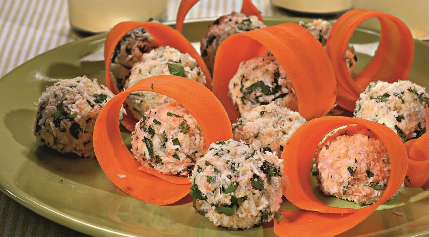 Рецепт Сырные шарики с морковью и орехами