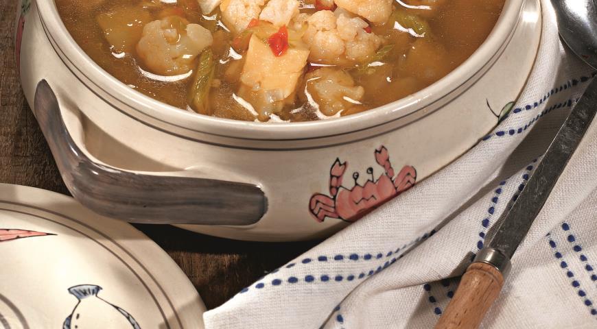 Рецепт Суп из копченой трески и цветной капусты