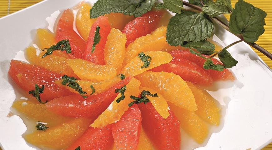 Рецепт Десерт из апельсинов и грейпфрутов