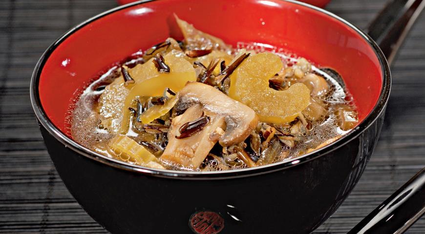 Рецепт Суп с грибами и диким рисом