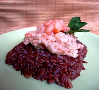 Рецепт Красный рис с креветочным кремом