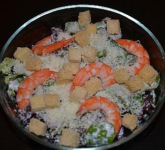 Рецепт Салат Цезарь с креветками