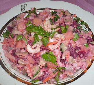 Рецепт Винегрет с креветками Свежесть северного моря