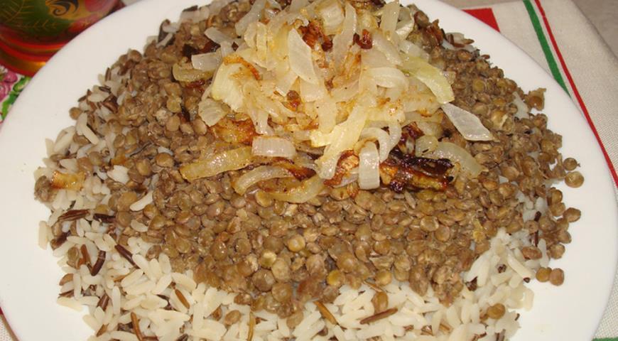 Рецепт Муджадара, чечевица с рисом