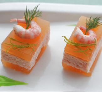 Рецепт Мусс из креветок и семги с грейпфрутовым желе