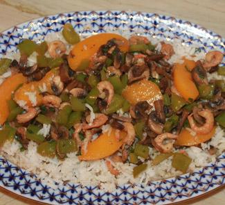 Рецепт Креветки с рисом в пикантном маринаде