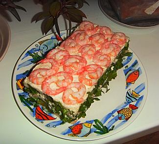 Рецепт Креветочный тортик Объедение