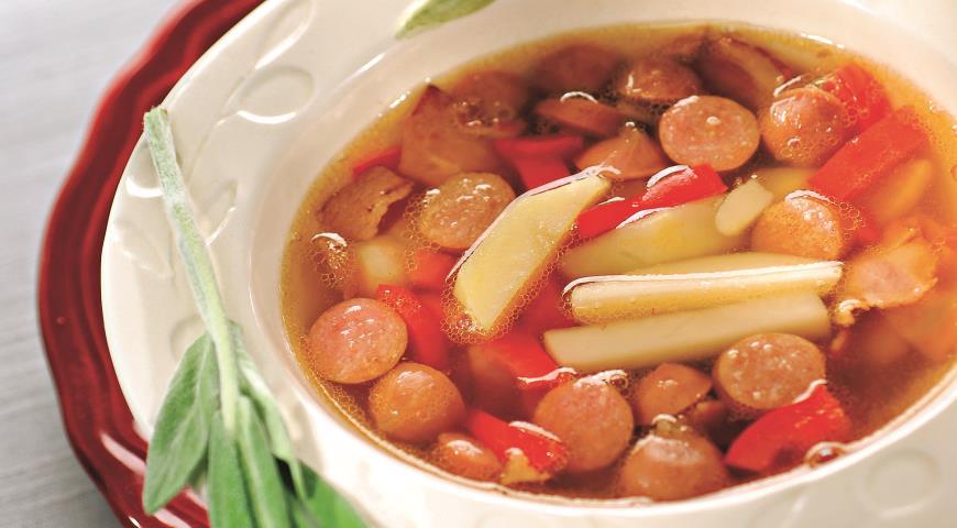 Рецепт Суп с охотничьими колбасками
