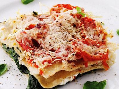 Рецепт Лазанья с рыбой, шпинатом и творогом