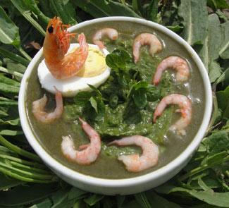 Рецепт Суп-пюре из щавеля с креветками Пробуждение Природы