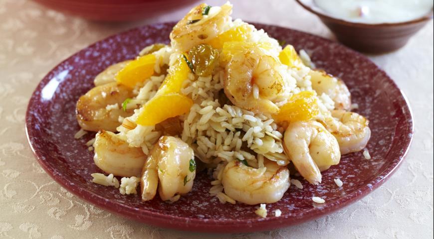 Рецепт Коричневый рис с креветками