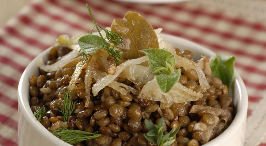 Рецепт Чечевица с луком и зеленью