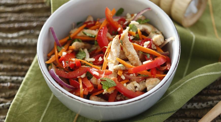 Рецепт Салат из индейки с рисом
