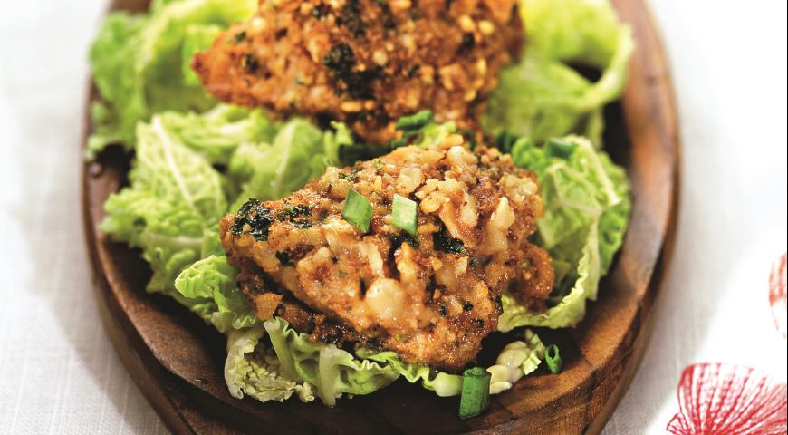Рецепт Жареный минтай в орехово-грибной панировке