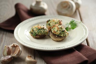 Рецепт Шампиньоны, фаршированные зеленью с яйцами