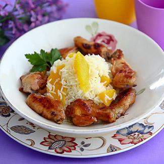 Рецепт Куриные крылышки с рисом и апельсиновым маслом в мультиварке