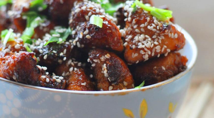 Рецепт Цыпленок запеченный в кисло-сладком соусе с кунжутом