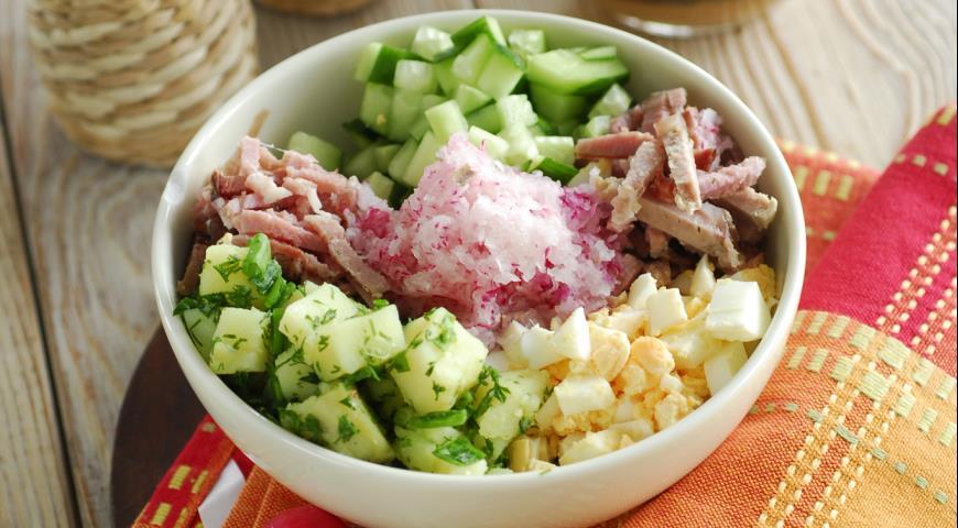 Салат с курицей и омлетом - Пошаговый рецепт с фото Салаты 45