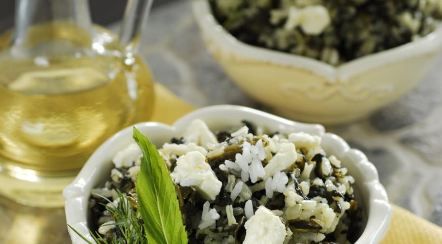 Рецепт Спанакоризо - рис со шпинатом и зеленью