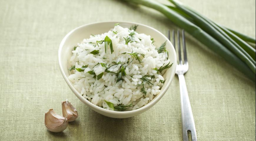 Рецепт Рис с укропом, чесноком и зеленым луком