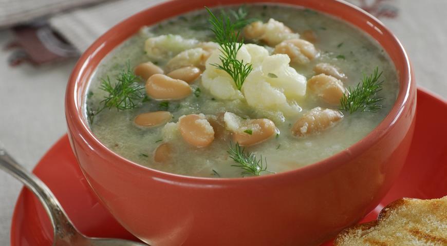 Рецепт Суп из цветной капусты и белой фасоли