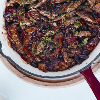 Рецепт Острая говядина с фасолью