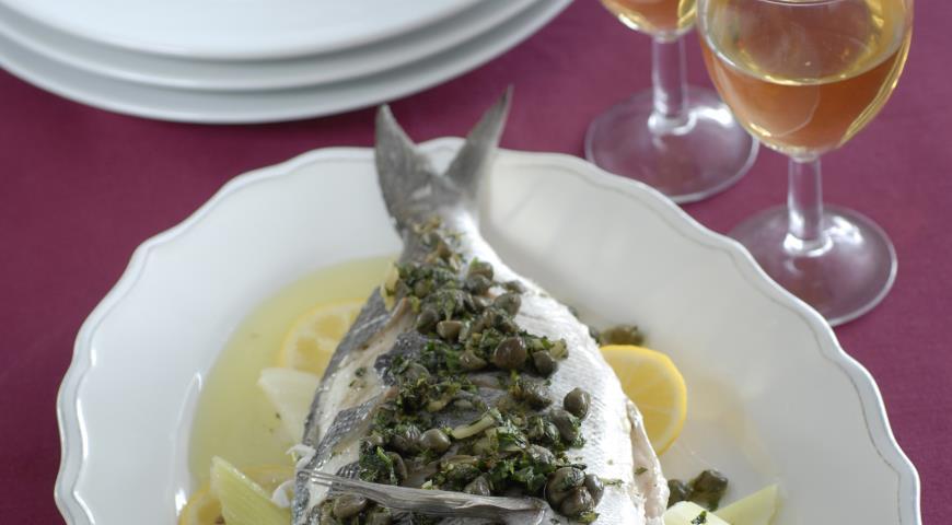 Рецепт Дорада с анчоусным соусом