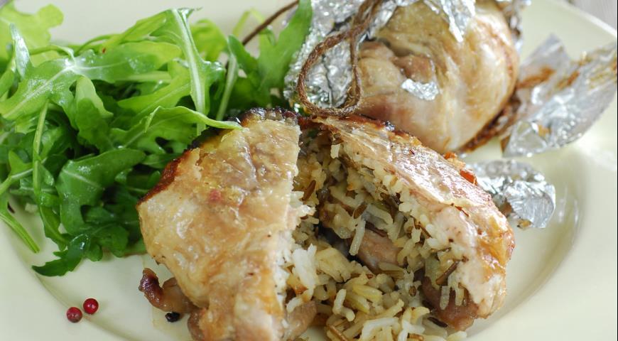 Рецепт Куриные мешочки с рисом