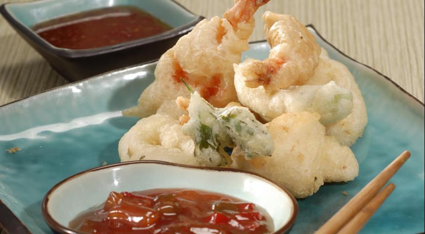 Рецепт Овощи и морепродукты в темпуре