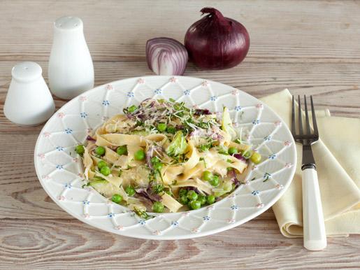 Рецепт Паста с кабачками и зеленым горошком