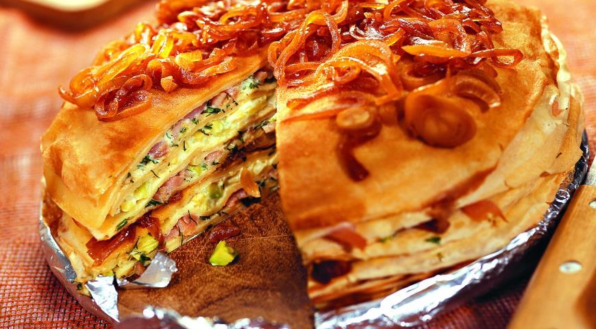 Рецепт Блинчатый пирог закусочный