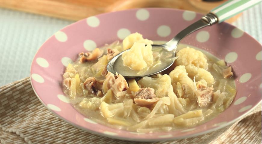 Рецепт Куриный суп с кольраби и цветной капустой