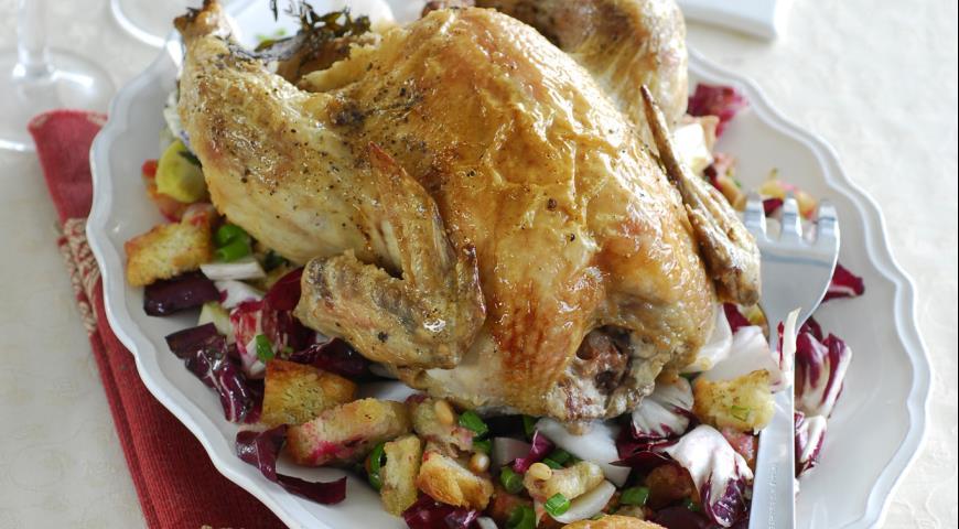 Рецепт Запеченная курица с хлебным гарниром