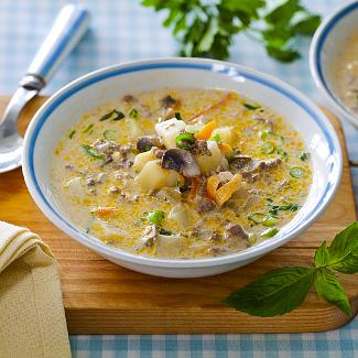 Рецепт Наваристый суп с шампиньонами в мультиварке