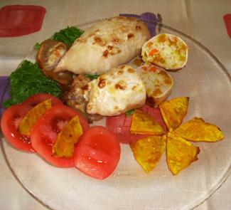 Рецепт Кальмар, фаршированный рисом, тыквой и морковью