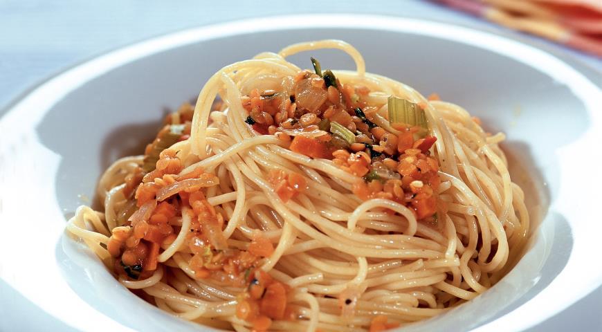 Рецепт Спагетти с соусом из чечевицы
