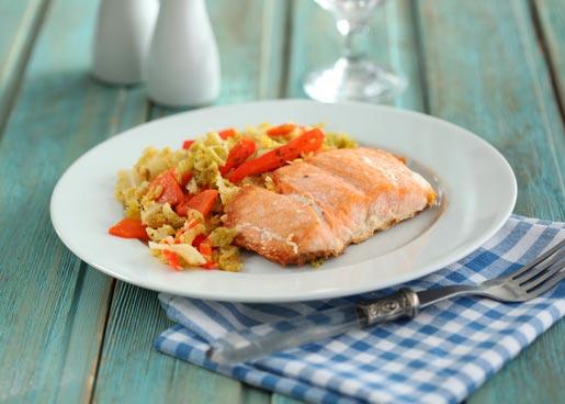 Рецепт Форель в духовке с овощами