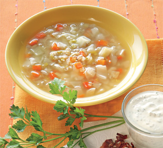 Рецепт Перловый суп с овощами и беконом