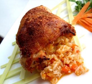 Рецепт Куриные окорочка, фаршированные рисом с овощами